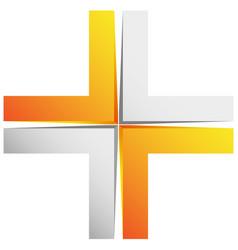 Bright cross x sign icon - generic 3d design vector