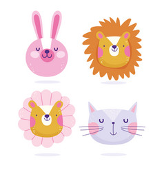 Bunny lion cat and tiger flower faces animals vector