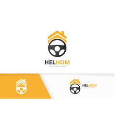car helm and real estate logo combination vector image