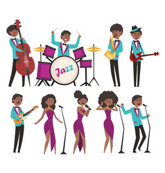 Cartoon jazz artists characters singing and vector