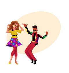 caucasian girl and black man at eighties retro vector image