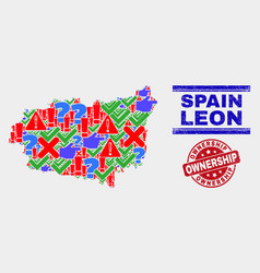 Composition leon province map symbol mosaic and vector