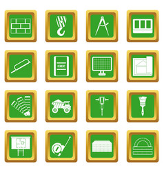 Construction icons set green vector