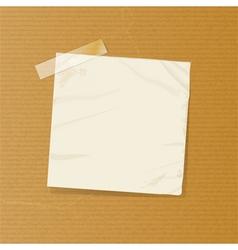 Crumpled note on brownpaper vector