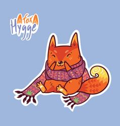 Cute baby fox in scarf cute decorative patch in vector