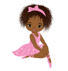cute little african american ballerina vector image