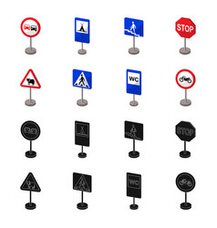 Different types of road signs blackcartoon icons vector