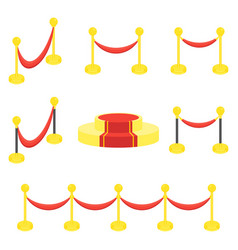 Fence posts with rope for red carpet honor vector
