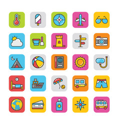 Flat icons pack hotel and travel vector