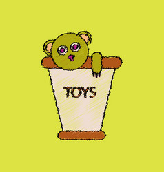 Flat shading style icon teddy bear in bucket vector