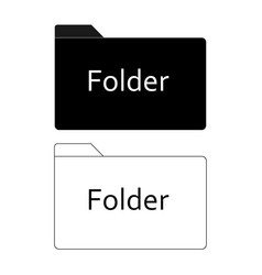 folder icon on white background flat style black vector image