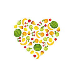 fresh colorful fruits and vegetables in shape of vector image