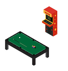 game room concept arcade game machine and pool vector image