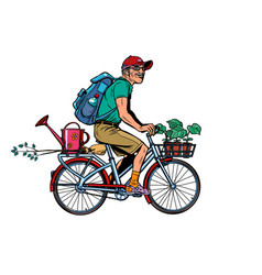 gardener old cottager on bike vector image