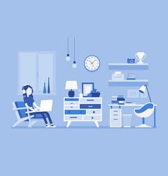 girl room interior design vector image