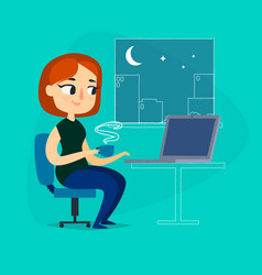 Girl with notebook and cup of coffee at night vector