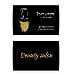 Gold glitter texture nail art buisness card vector