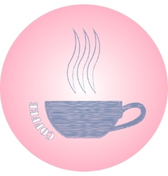 hand drawn logo coffee cup on pink background vector image