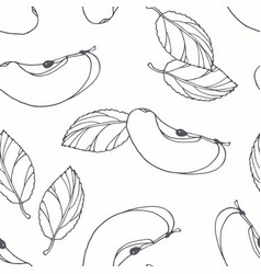 Hand drawn outline seamless pattern with apple vector