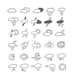 Hand drawn weather icon doodle set vector image