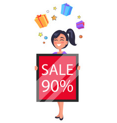 happy customer holding table 90 percent sale ad vector image