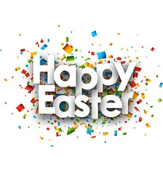 Happy easter paper background vector image