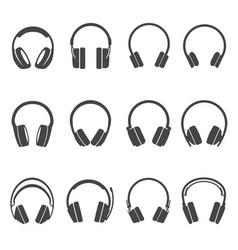 Headphones black and white glyph icons set vector