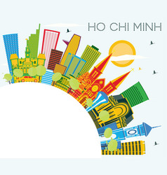 ho chi minh skyline with color buildings blue sky vector image