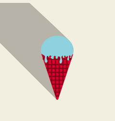 ice cream in waffle cone icon vector image