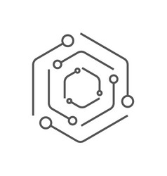 Iot internet things global icon line vector