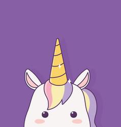 Kawaii unicorn face cartoon character magical vector