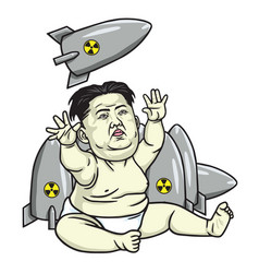 Kim jong un playing missiles cartoon vector