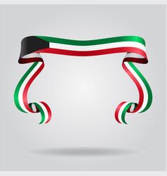 kuwaiti flag wavy ribon background vector image