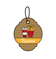 label fast food french fries and soda icon vector image