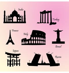Landmarks countries of the world vector