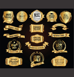 luxury retro badges gold and silver collection vector image