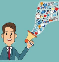 man business holding speaker digital marketing vector image