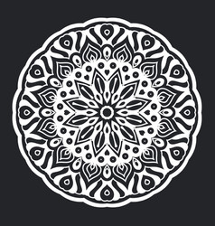 mandala pattern black and white silhouette vector image