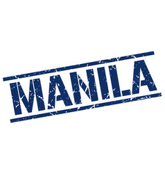 Manila blue square stamp vector