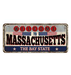 Massachusetts vintage rusty metal sign vector