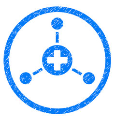 Medical center rounded grainy icon vector