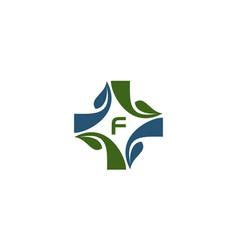 Medical herbal initial f vector
