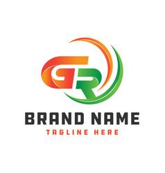 monogram logo design letter gr vector image