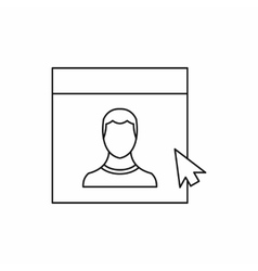 Mouse cursor pointing to a person on monitor icon vector