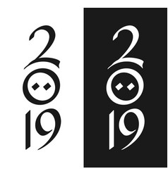 New year 2019 greeting card in black and white vector