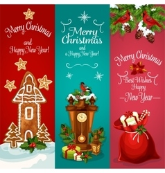 New Year and Christmas Day holidays banner set vector