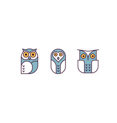 owl line vector image