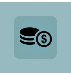 Pale blue dollar rouleau icon vector