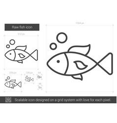 raw fish line icon vector image