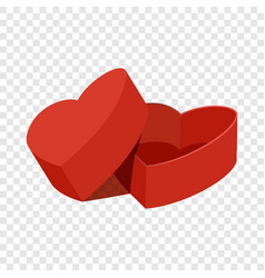Red heart shaped gift box icon flat style vector